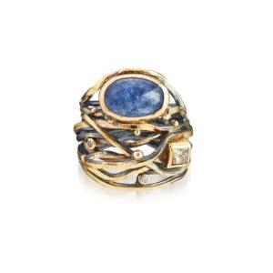 Josephine Bergsøe Zilver en Goud Blauw Saffier Diamanten Ringen