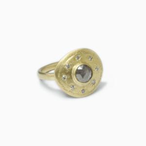 &jewels Ring medaillon salt&pepper diamond light grey diamonds 18_14ct gold