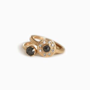 &jewels Rings Mediallon & Solitaire Salt& Pepper diamonds