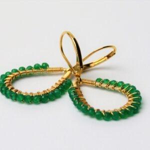 Oorsieraad goldfilled met groene onyx